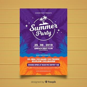 Plantilla de póster de fiesta de verano en estilo plano