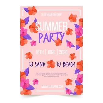Plantilla de póster de fiesta de verano con flores