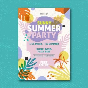 Plantilla de póster de fiesta de verano con hojas