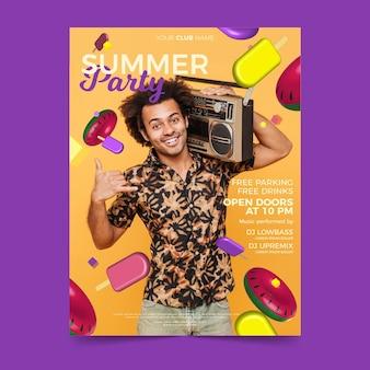 Plantilla de póster de fiesta de verano con imagen
