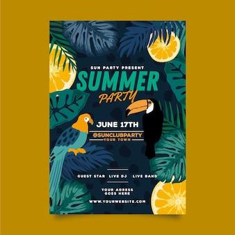 Plantilla de póster de fiesta de verano con pájaros y hojas