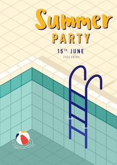 Plantilla de póster de fiesta de verano con piscina isométrica