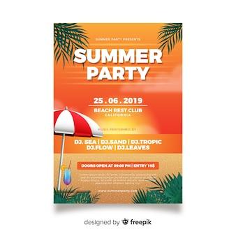 Plantilla de póster de fiesta de verano realista
