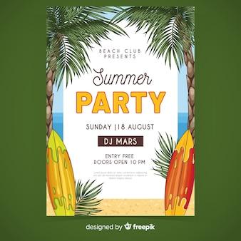 Plantilla de póster de fiesta de verano de tablas de surf