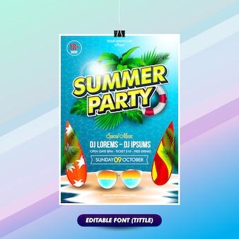 Plantilla de póster de fiesta de verano con títulos de efectos de texto editables