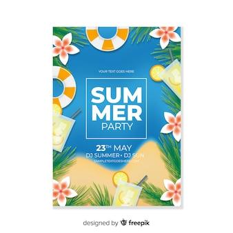 Plantilla de poster de fiesta de verano