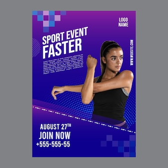 Plantilla de póster para fitness y deportes.