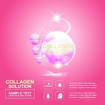 Plantilla de póster de fondo de bola de colágeno rosa