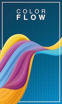 Plantilla de póster de fondo de flujo de color