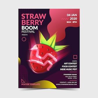 Plantilla de póster de fresa