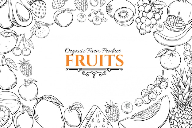 Plantilla de póster con frutas dibujadas a mano para