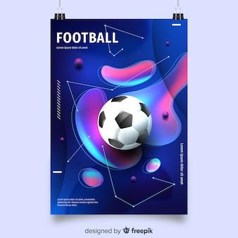 Plantilla de póster de fútbol con formas fluidas