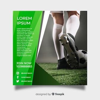 Plantilla de poster de fútbol con fotografía