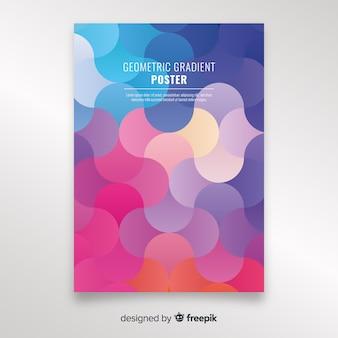Plantilla de poster geométrico en color degradado