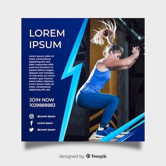 Plantilla de poster de gimnasio con fotografía