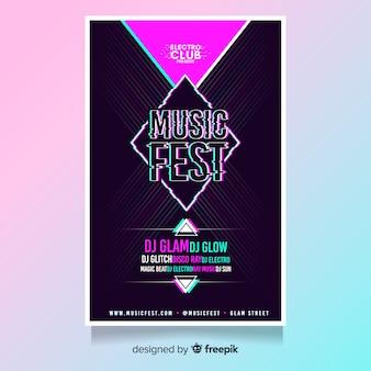 Plantilla de póster glitch de festival de música