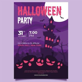Plantilla de póster de halloween de castillo y calabazas