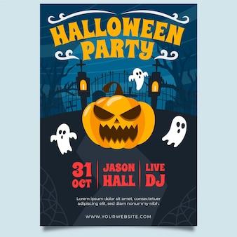 Plantilla de póster de halloween enojado de calabaza y fantasmas