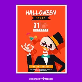 Plantilla de póster de halloween esqueleto bien vestido