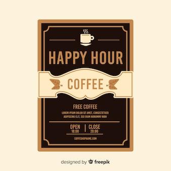 Plantilla de póster de happy hour de café delicioso