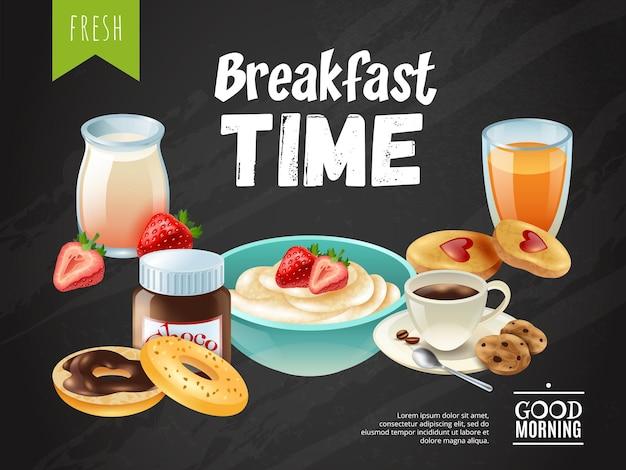 Plantilla de póster de la hora del desayuno