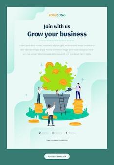 Plantilla de póster con ilustración de personaje plano, plantas y monedas negocios en crecimiento