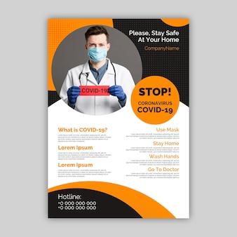 Plantilla de póster informativo de coronavirus