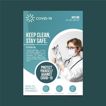 Plantilla de póster informativo sobre coronavirus