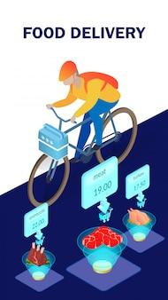 Plantilla de póster isométrico de entrega de productos alimenticios