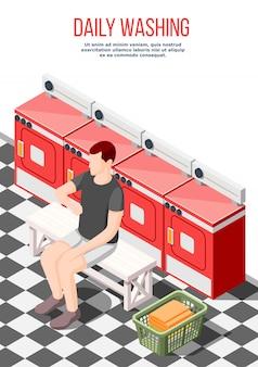 Plantilla de póster isométrico de lavado diario
