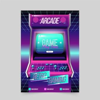 Plantilla de póster de juegos retro arcade