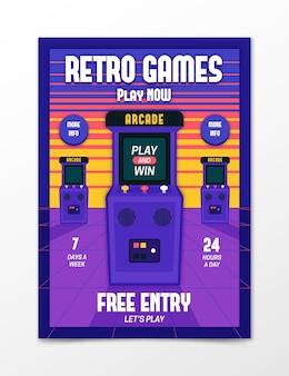 Plantilla de póster de juegos retro ilustrada