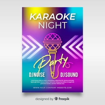 Plantilla poster karaoke abstracto degradado