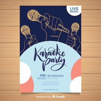 Plantilla poster karaoke dibujado a mano