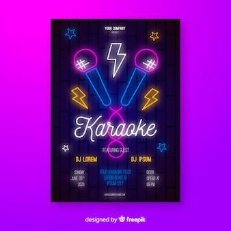 Plantilla poster karaoke estilo plano