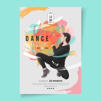 Plantilla de póster de lecciones de baile