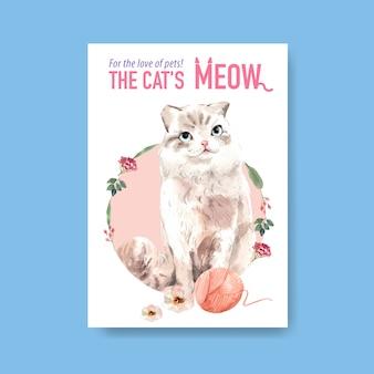 Plantilla de póster con lindo gato