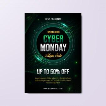 Plantilla de póster del lunes cibernético, diseño techno moderno abstracto