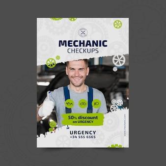 Plantilla de póster de mecánico y servicio
