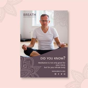 Plantilla de póster para meditación y atención plena.