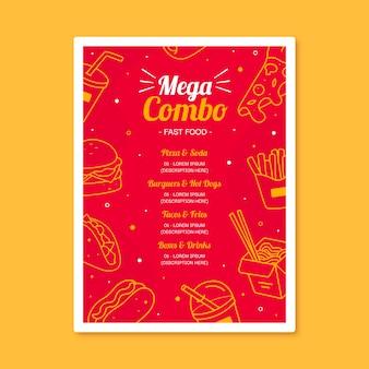 Plantilla de póster de mega combo de comidas