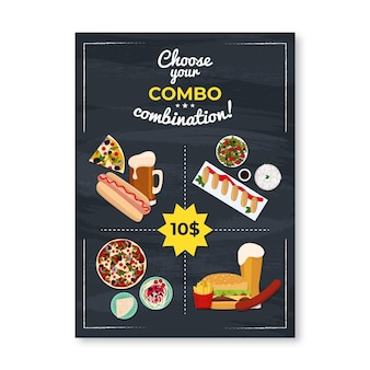 Plantilla de póster de menús combinados