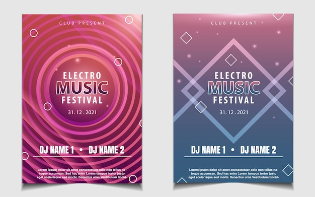 Plantilla de póster mínimo para festival de música electro con forma de degradado