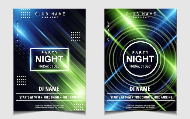 Plantilla de póster mínimo para festival de música electro con luz colorida