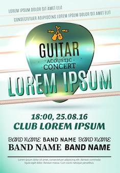 Plantilla de póster moderno para un concierto de guitarra acústica o un festival de rock.