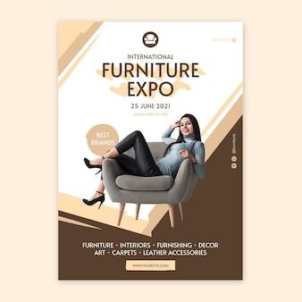 Plantilla de póster de muebles planos