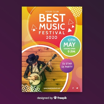 Plantilla póster de música abstracto colorido con foto