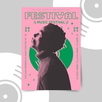 Plantilla de póster de música de diseño retro
