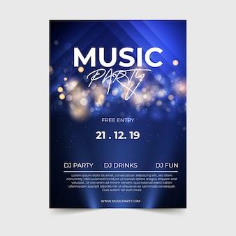 Plantilla de póster de música de efecto de luz abstracta