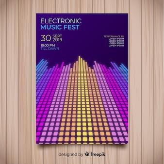 Plantilla de póster de música electrónica abstracto